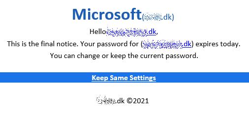 Phishing mail der påstås at være fra Microsoft - Juni 2021