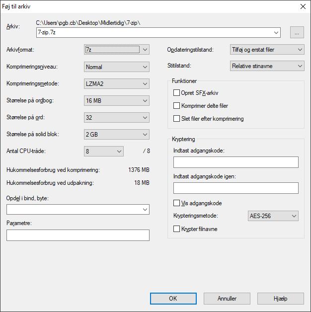 Open Source komprimeringsværktøjet 7-zip