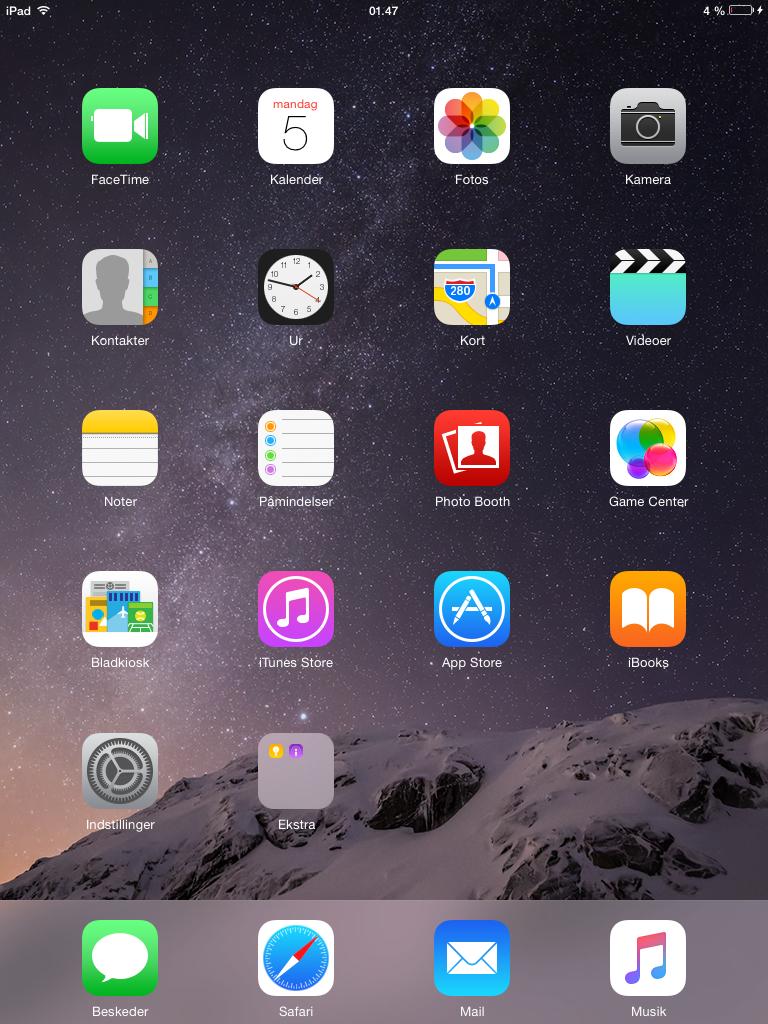 iOS 8 - Skrivebordet på en opdateret iPad 2 - 2012